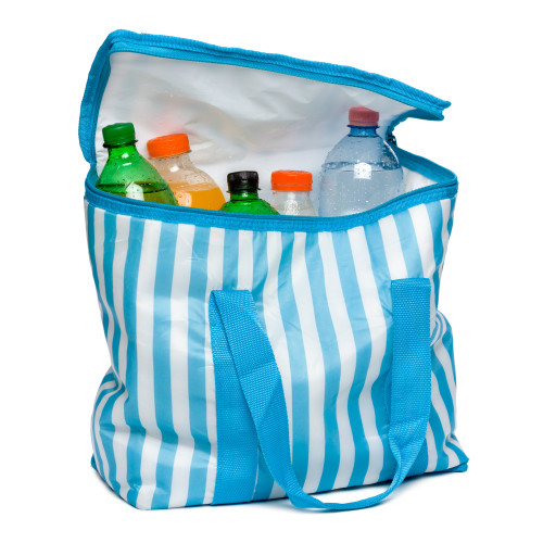 Open standing blue striped cooler bag with full of cool refreshing drinks, isolated on white