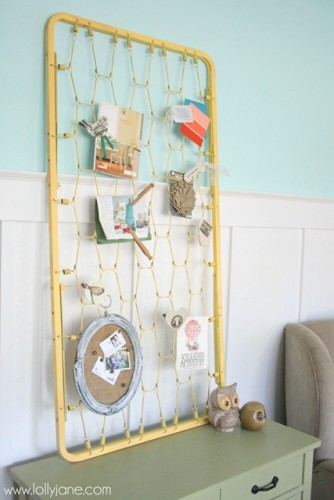 Crib-mattress-turned-bulletin-board-craft-room-storage-LollyJane
