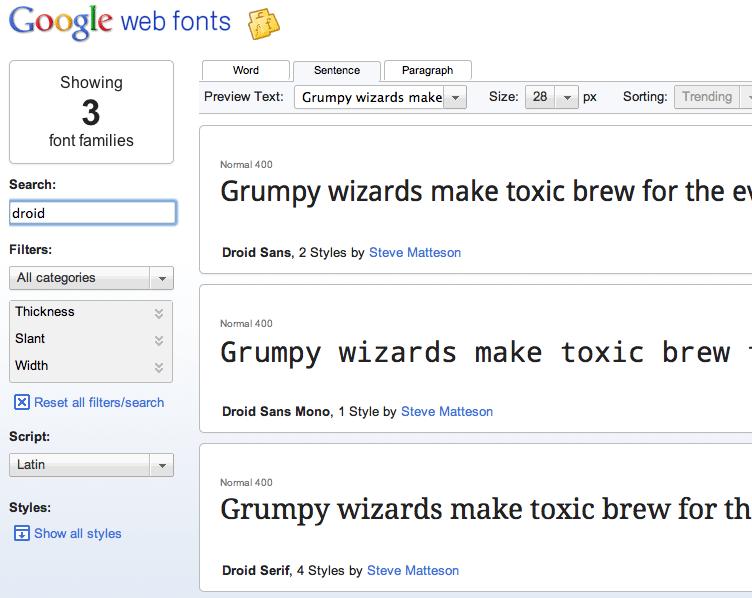 Droid sans google font