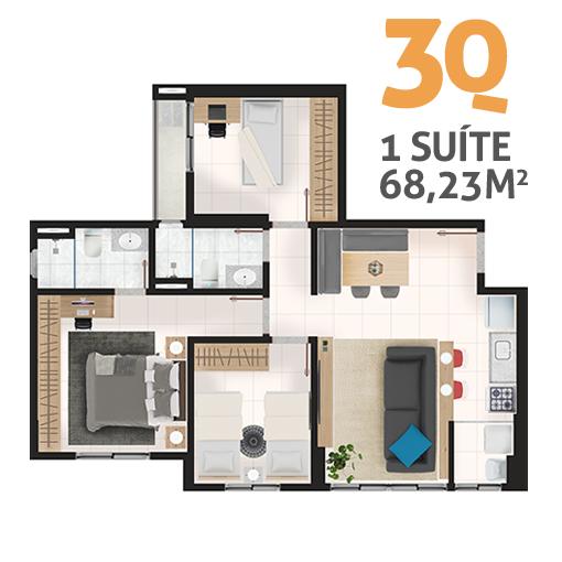 Apartamento 3 quartos 1