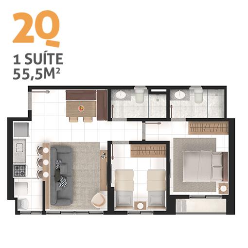 Apartamento 2 quartos tipo 1 2