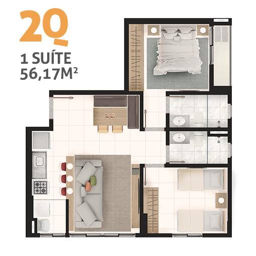 Apartame 2 quartos tipo 2