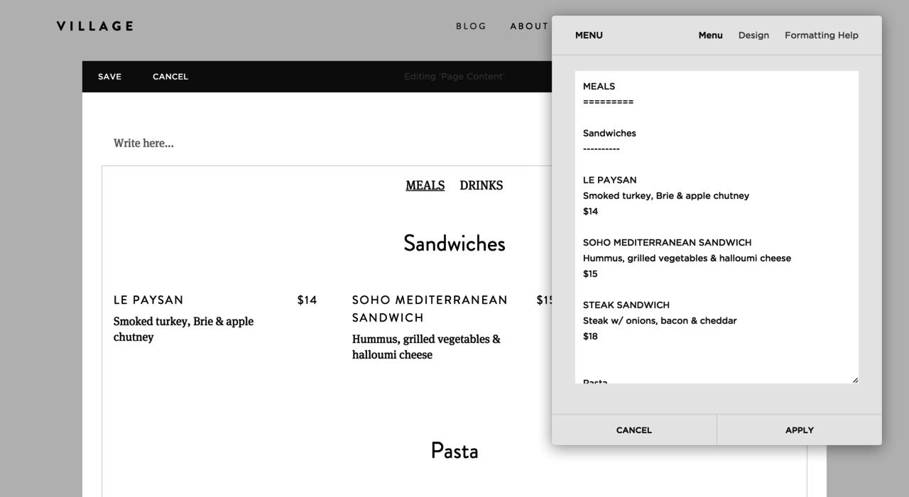 Creating a restaurant menu using a simple markup language.