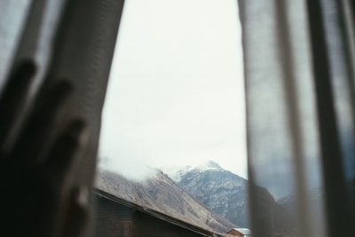window, view, mountain, peak, snow, mist, sky, nature, cottage