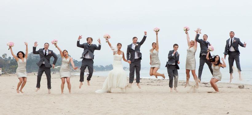 beach fess parker bridal party jump shot