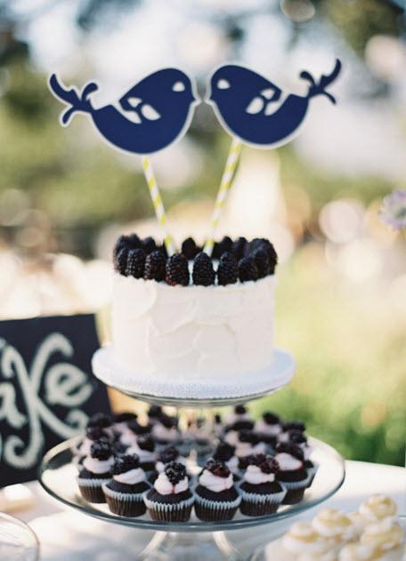 outdoor chic lovebird cake topper