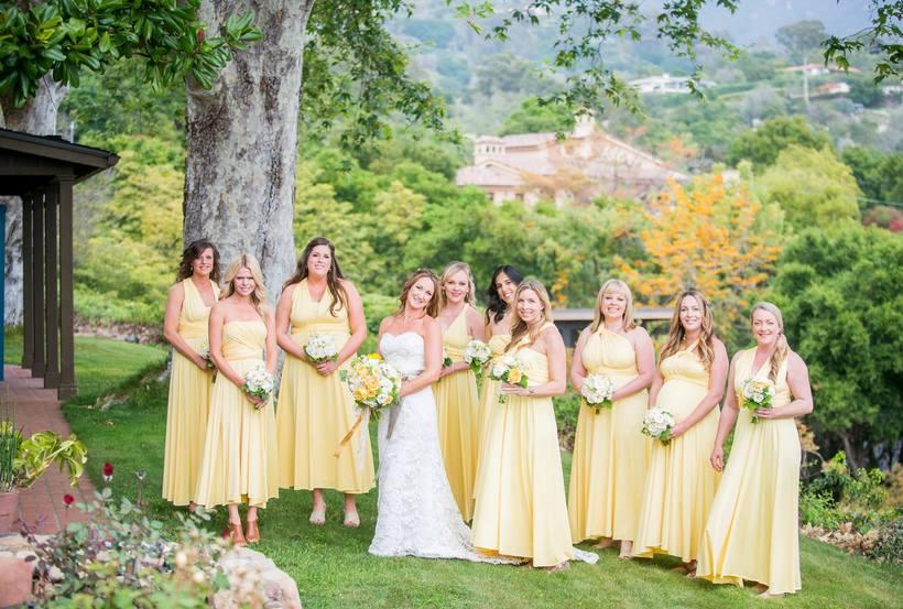 springtime rustic bridesmaids