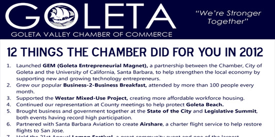 12 Things the Chamber did for you in 2012!