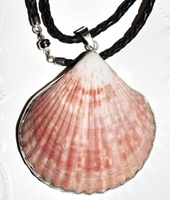 Braided Leather Necklace with Large Shell Framed in Sterling Silver 