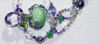 Green Lampwork Beaded, Pink Amethyst, and Multibead Loop Necklace