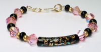 Tensha Curve Tube Bead Focal, Swarovski Crystal, &amp; Onyx Bracelet with Gold-Filled Wire Clasp 