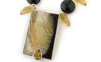 Hawaiian Shell Necklace &amp; Earring set with Citrine and Onyx gemstones 