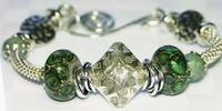 Chunky Bangle Bracelet Thai Silver Focal with Green Lampwork Bead Bangle Bracelet 