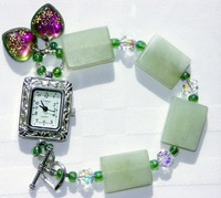 Jade Tile Gemstone Watch Bracelet with Century Brand SS Plated Face