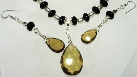 Necklace and Earring Set: Beer Colored Quartz, Onyx & Silver