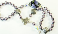 Iolite &amp; Violets Lampwork Beaded Necklace, Bracelet, and Earring Set 