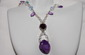 Sugilite and Amethyst Necklace with Swarovski Crystals, and Fancy Clasp
