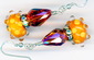 Orange Lampwork Crystal Earrings