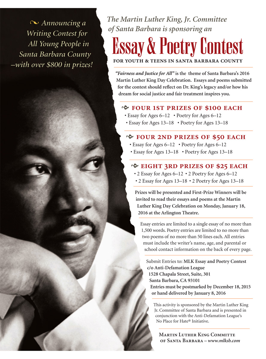 dr martin luther king jr essay enterprises annual martin luther  essay poetry martin luther king jr santa barbara