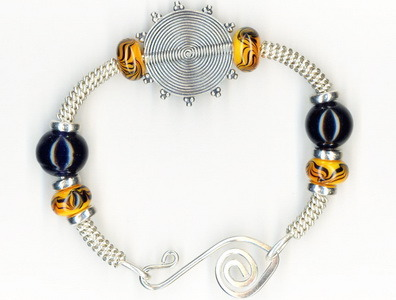 Bangle Bracelet with Yellow & Black Lampwork Glass Beads