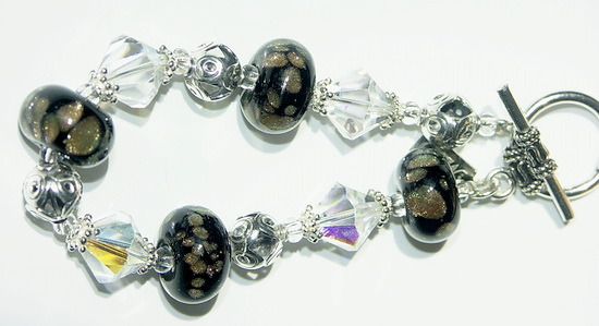 Lampwork Glass Beaded Bracelet ~Fairy Dust~
