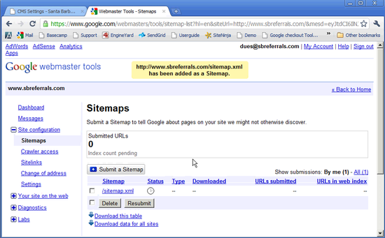 creating and uploading a sitemap siteninja cms