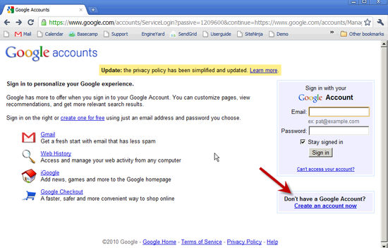 Create Google Account - 1