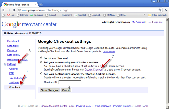 Google Checkout Creation - 2