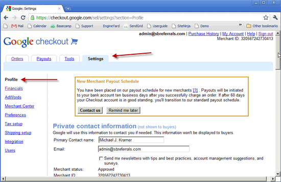 Google Checkout Profile - 3