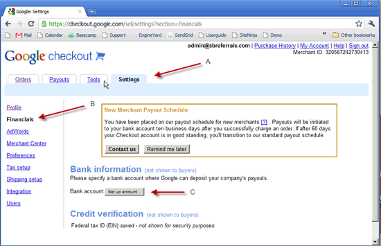 Google Checkout Bank Setup - 3