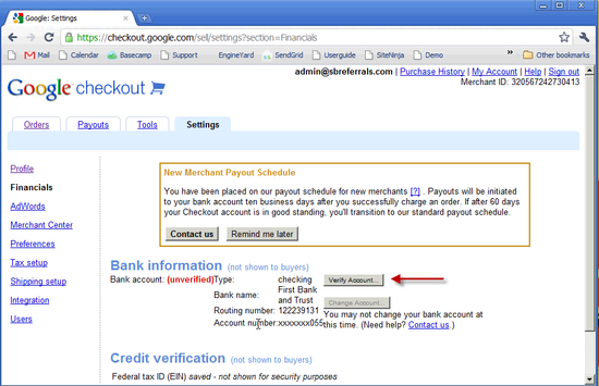 Google Checkout Bank Setup - 5