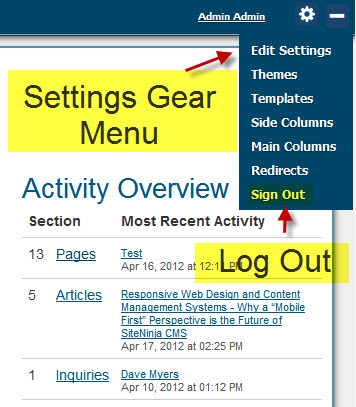 Settings Gear - Log Out