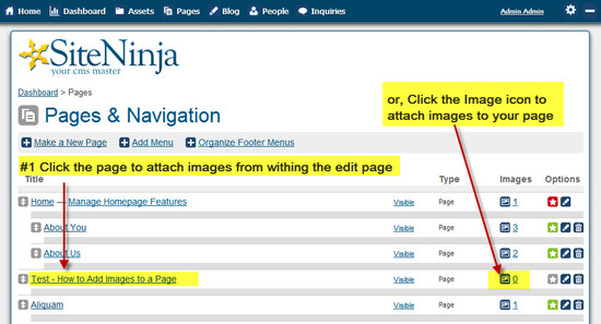 #2 Attach Images from within the Page Edit screen, or click the image icon to attach images