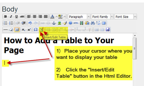 Step #1 - Place an Empty Table on the Page