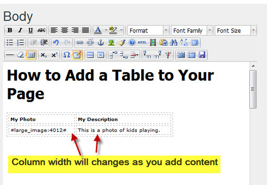 Step #3 - Adding content to your Table