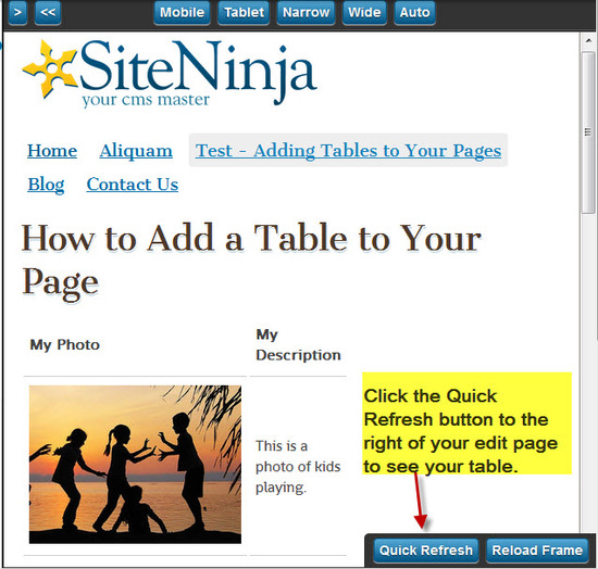 Step #4 - Preview your Table