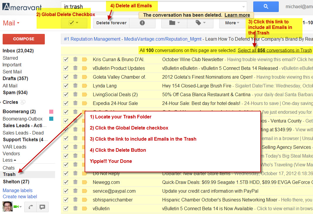 How to Delete Gmail Messages - When your Inbox is Full - SiteNinja CMS