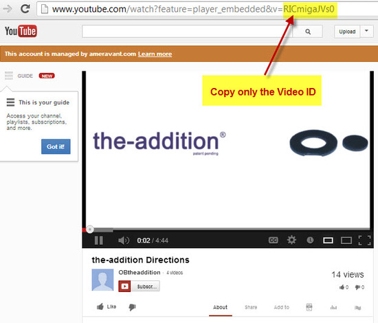 "Copy the ""Video ID"" from the URL"