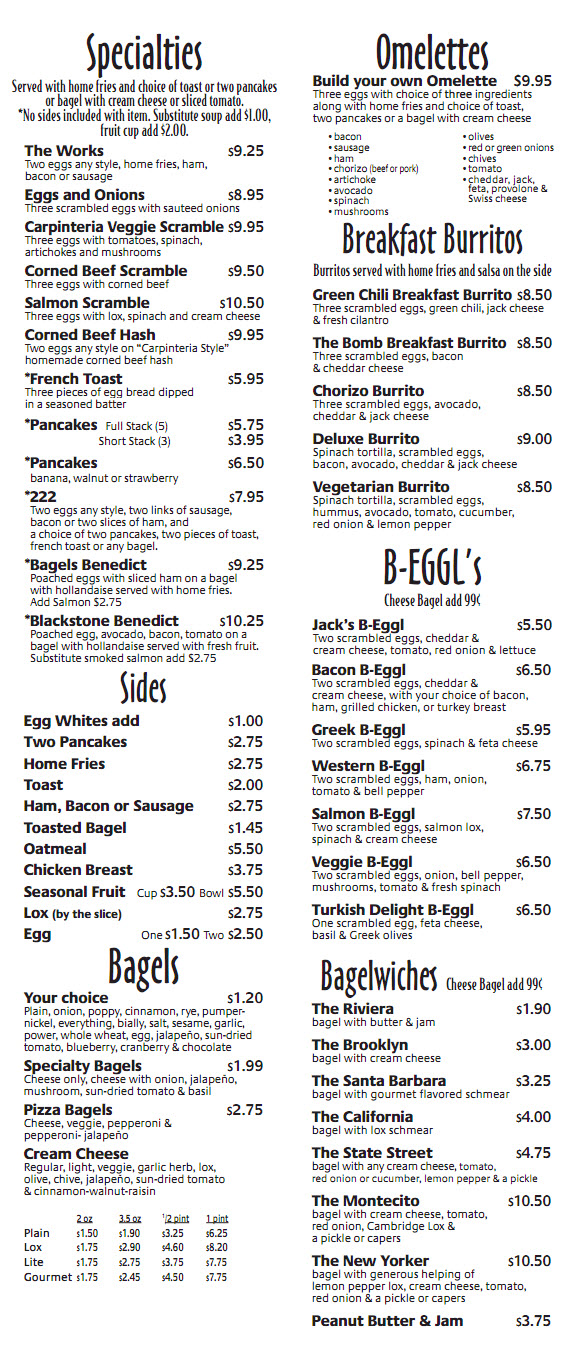 Breakfast Lunch Menu