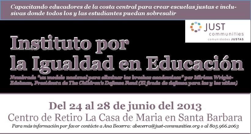 Instituto por la Igualdad en Educacion 2013
