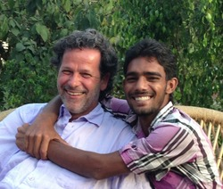 """Stefan with his """"adopted Indian son"""" Rajendar in Rishikesh"""