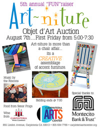 Art-Niture exhibit on view now at the Arts Center Thru August 8