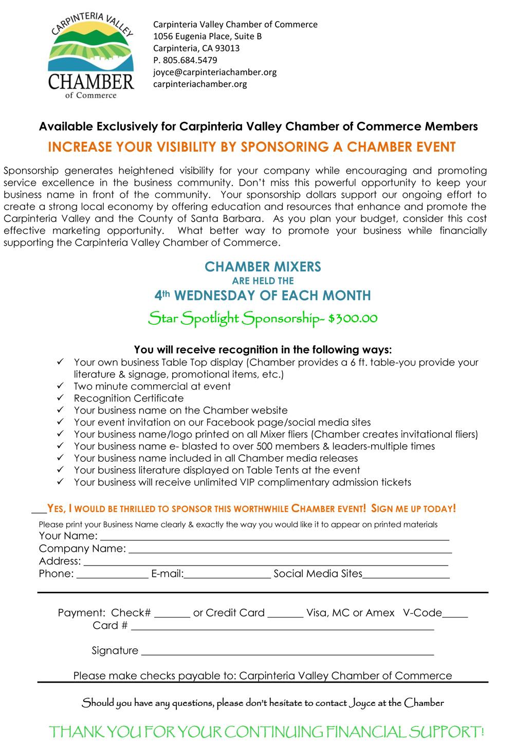 Sponsor a Carpenteria Chamber Event