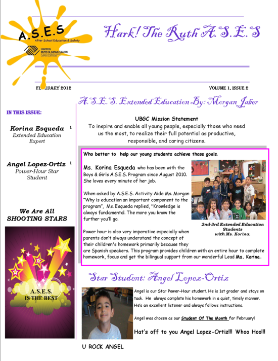 ASES Clarence Ruth Feb 2012 Newsletter