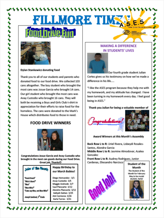 2012 March Fillmore Newsletter