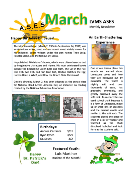 2012 March LVMS Newsletter
