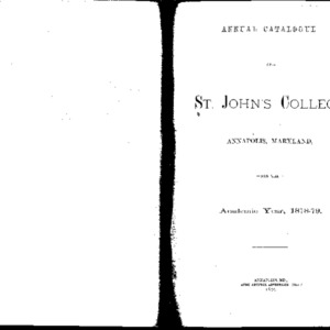 Annual Catalogue of St. John's College Annapolis, Maryland, for the Academic Year, 1877-78