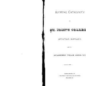 Annual Catalogue of St. John's College, Annapolis, Maryland, for the Academic Year 1876-'77.