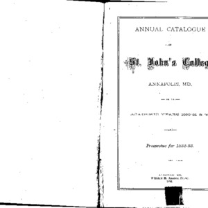 Annual Catalogue of St. John's College Annapolis, MD. for the Academic Years 1880-81 & '82, and Prospectus for 1882-83.