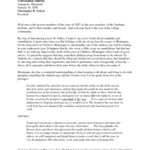 Convocation Address, Graduate Institute, Spring 2004